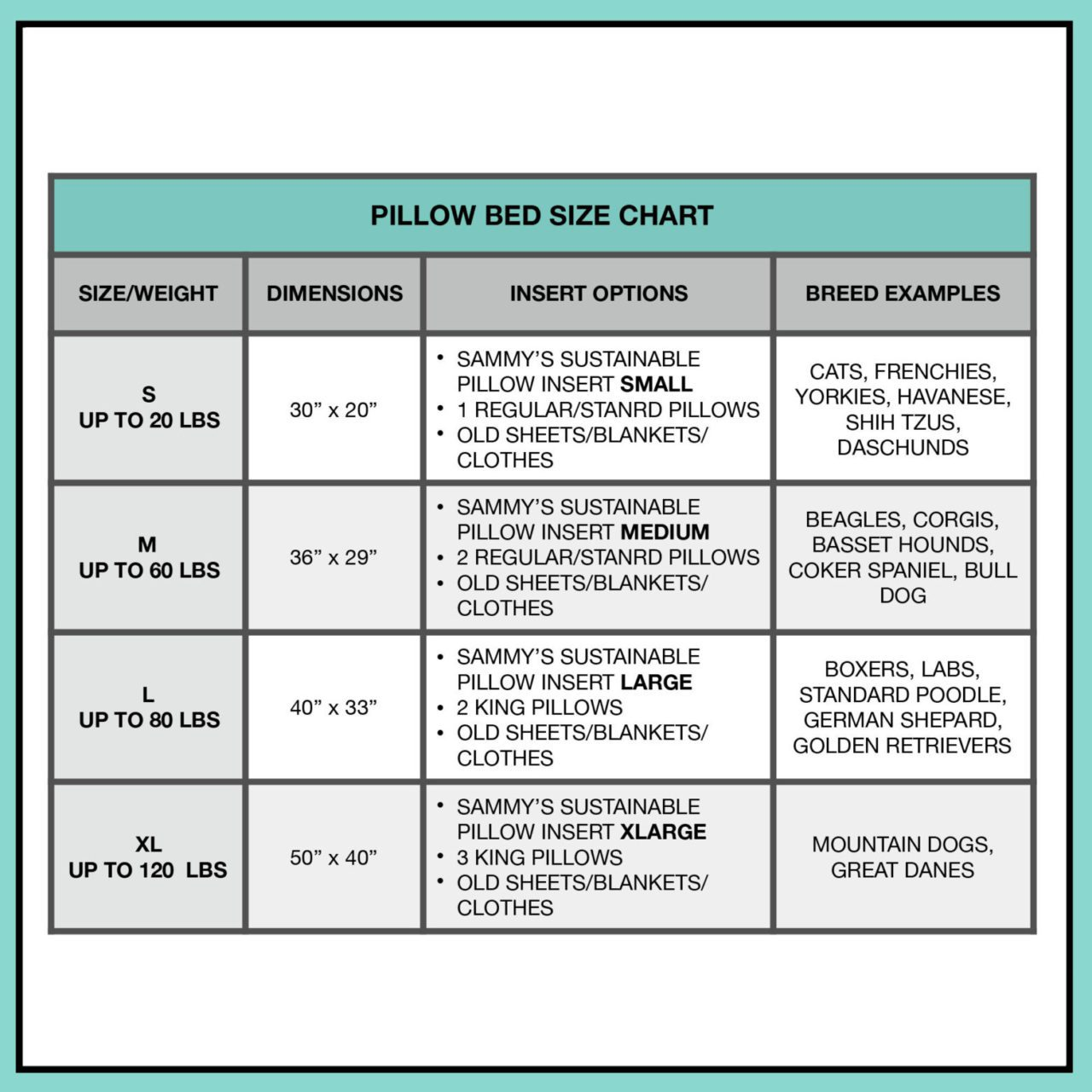 Pillow Bed Size Chart