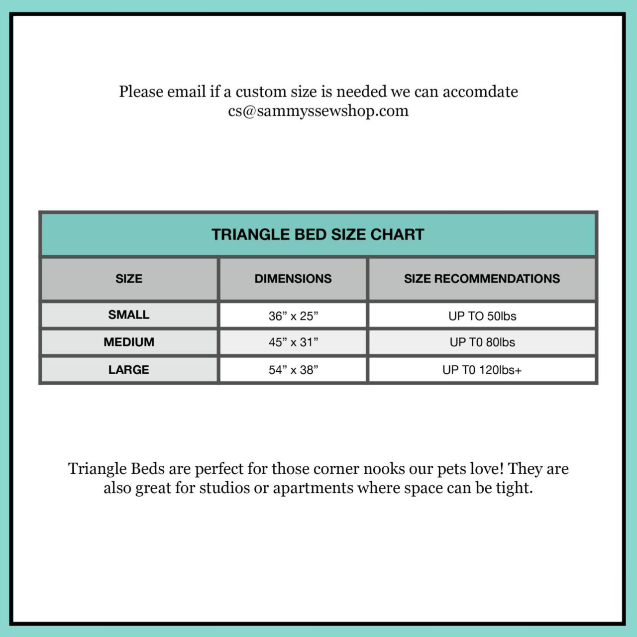 Triangle Bed Size Chart